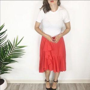 Joie Skirts - NWT JOIE ruffles midi skirt asymmetrical hem 0443
